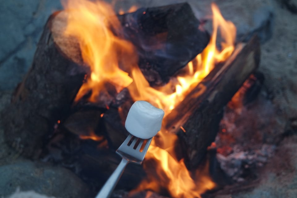 marshmallow campsite fire toast toasted wales harlech