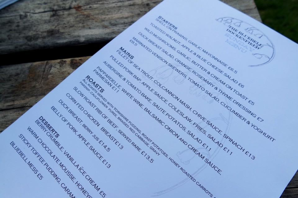 the bluebell dockenfield menu sunday roast