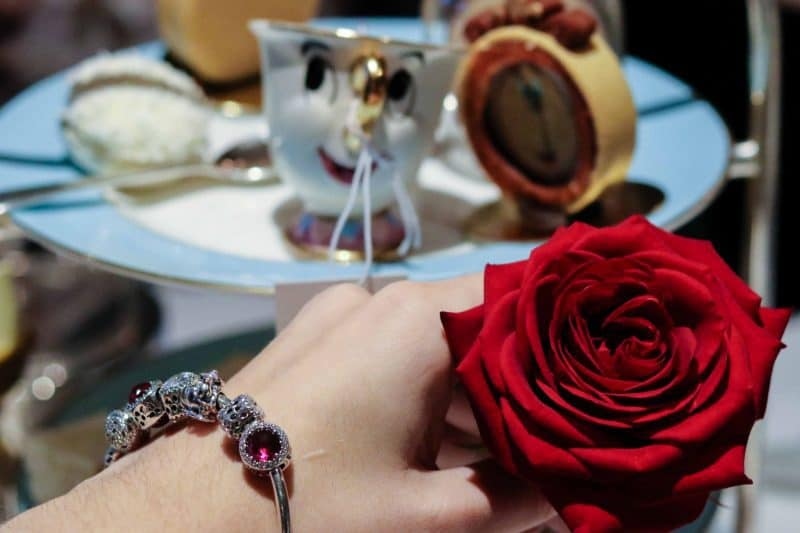 beauty and the beast afternoon tea with rose and PANDORA bracelet