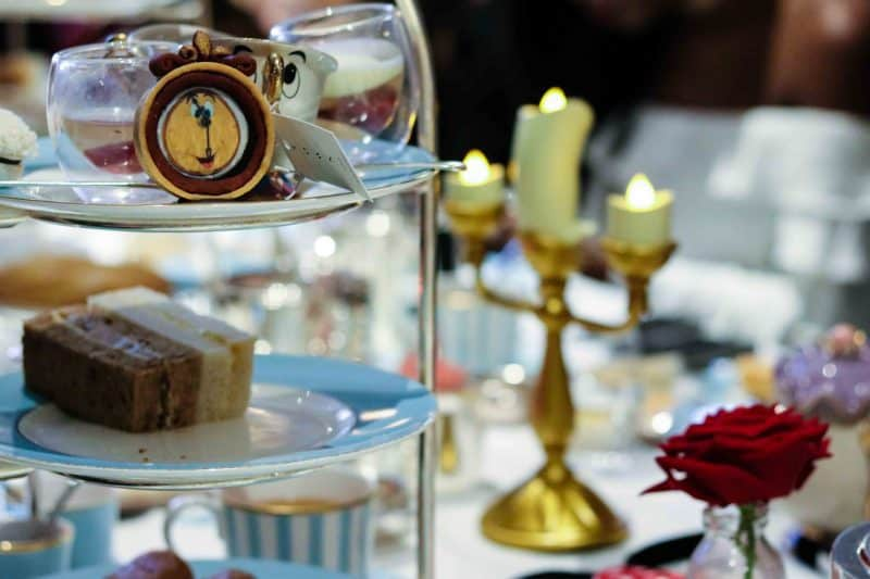 Disney Beauty and the Beast afternoon tea set up