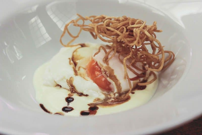 poached egg cheese dish