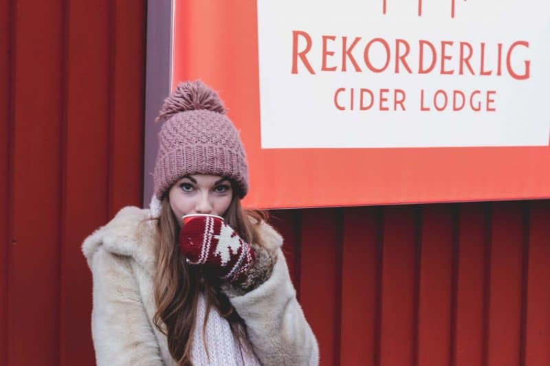 girl drinking winter lodge