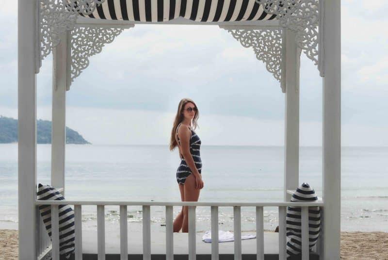 girl beach cabana
